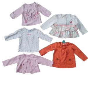Lot of 5 Long Sleeved Shirts & Cardigans, 12-18m